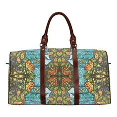 Ocean Flower Waterproof Travel Bag/Small (Model 1639)