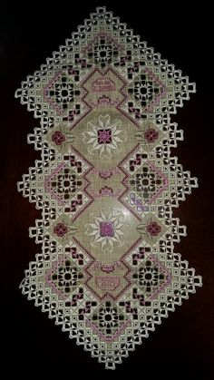 This Pin was discovered by Тет Hardanger Embroidery, Hand Embroidery Patterns, Ribbon Embroidery, Cross Stitch Embroidery, Embroidery Designs, Drawn Thread, Brazilian Embroidery, Fabric Yarn, Bargello