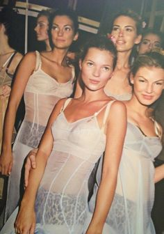 Kate Moss Niki Taylor at Dolce and Gabbana -pastel silk slip with structured bodice and leopard print boyshorts