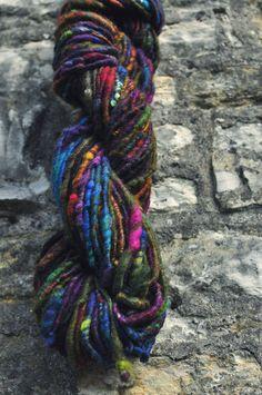 Handspun art yarn 'Wild Rainbow' Coreless corespun by Innerspiral