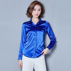 f1fa503dfe0e2 BIBOYAMALL Women Shirt 2017 Autumn Casual OL Silk Blouse Office OL Work  Wear Blusas Feminina Tops