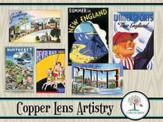 New England Vintage travel Posters and post cards to use in your Scrapbooking and paper crafting.
