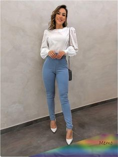 Blusa-Tricotline-Vanessa-Off Source by melissameljoy Casual Outfits Look Casual Chic, Casual Work Outfits, Business Casual Outfits, Professional Outfits, Look Chic, Classy Outfits, Stylish Outfits, Cute Office Outfits, Beautiful Outfits