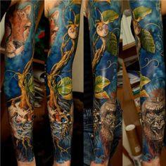 Dmitriy Samohin, Ukraine. #Tattoo #sleeve #colortattoo #tatuaż #rękaw #sztuka
