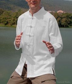 Martial Arts Shirts Thick 100 Cotton Mandarin by NaturalTrades Chinese Shirt, Mandarin Collar Shirt, Cheongsam, Tai Chi, Martial Arts, Chef Jackets, Trending Outfits, Coat, Sweaters