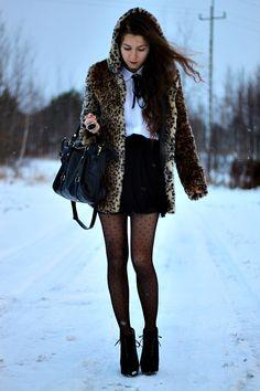 leopard print fur woolen zipper coat