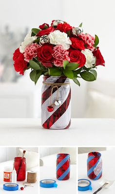Make your very own candy cane mason jar vase with our simple DIY instructions. Use red & white flowers and jingle bells to complete this adorable look.