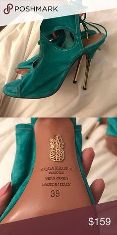 9e5786a2e5d Aquazzura SEXY THING Suede Sandals AQUAZZURA  SEXY THING  green suede  sandals with gold heel