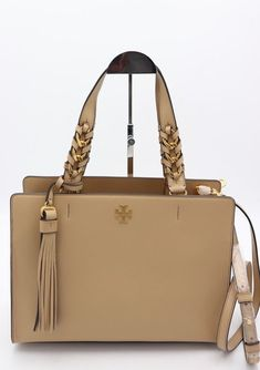 Details About Tory Burch Ella Leather Canvas Shoulder Laptop Bag Large Tote Navy New Nwt