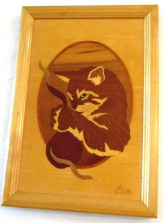 "HUDSON RIVER INLAY ""MISS MISCHIEF"" FRAMED CAT PICTURE SIGNED NELSON #HudsonRiverInlay"