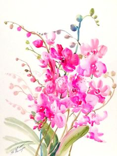 Orchids, original large watercolor painting, pink orchids, 24 X 18 in, floral painting, tropical flowers, bright pink