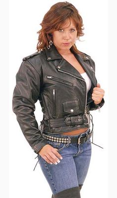 (td) Side Lace Cropped Leather Motorcycle Jacket for Women