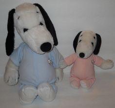 "Lot 2 Snoopy Dog Plush Stuffed 1968 Pajama Sleeper Pink Blue 19"" and 11"" Dolls"