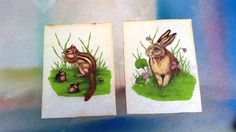 #uniquegift 60s Painting Chipmunk Painting Rabbit Painting by DameWhoFrames