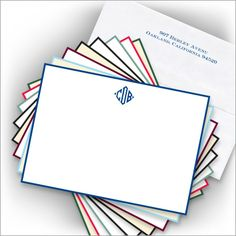 DYO Hand Bordered Correspondence Cards - with Monogram from American Stationery