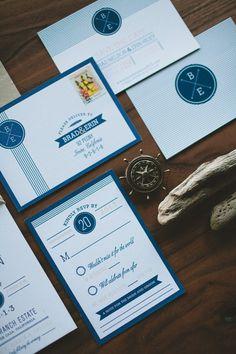 Letterpress Modern and Classic Nautical Wedding by WideEyesPaperCo