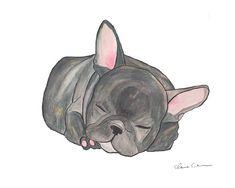 Sleeping French Bulldog Print Bulldog Art by ChickenpantsStudio