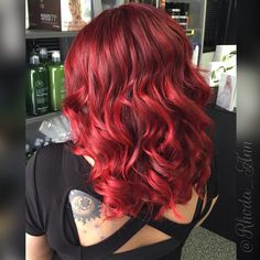 Shine bright like a ruby Beautiful red created using Paul Mitchell the color XG and inkworks Brown Hair Color Shades, Hair Color And Cut, Cool Hair Color, Brown Hair Colors, Gold Blonde Hair, Hair Beauty, Beauty Stuff, Beauty Tips, Paul Mitchell Color