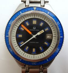 BLUE vintage Universal Geneve  Unisonic-SUB. Read all about it at http://www.sometimeago.com/what-a-watch-the-universal-geneve-unisonic-sub/#