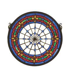 "13""W X 13""H Fleur-de-lis Medallion Stained Glass Window"