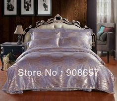 Light Purple Stripes Europe Pattern Bed linens duvet covers Satin Jacquard Queen Full King bedding sets Luxurious home textile