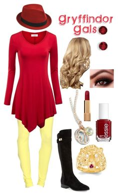 """""""Gryffindor Around Campus"""" by cgrey-1 on Polyvore featuring Maison Margiela, Stetson, Kevin Jewelers, Nicole Miller, Chanel and Essie"""