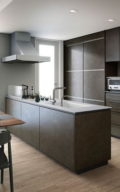 Trendy Home Decoration Modern Islands Apartment Kitchen, Kitchen Interior, Kitchen Design, Kitchen Ideas, Industrial Style Kitchen, Rustic Kitchen, Distressed Kitchen Cabinets, Kitchen Island With Seating, Kitchen Dinning