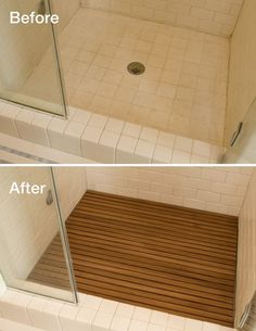 Adding teak to your shower floor instantly upgrades the look and hides the ugly…