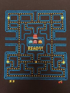PacMan Video Game Cross Stitch And Backstitch by starkissedjade