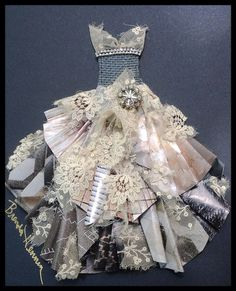 Paper Dress Made Out Of Lace, Paper, Netting, & Embellishments @brendahenning