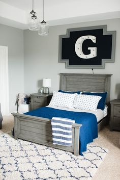 When it was time to upgrade G to his big boy bed, we did a revamp of his whole r. - When it was time to upgrade G to his big boy bed, we did a revamp of his whole room. Grey Boys Rooms, Big Boy Bedrooms, Boys Bedroom Decor, Baby Boy Rooms, Boys Bedroom Ideas 8 Year Old, Childs Bedroom, Boy Decor, Girl Rooms, Teen Bedroom