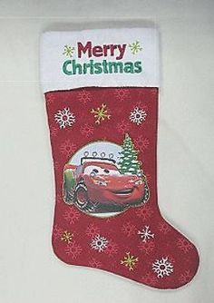 """Disney CARS Lightning McQueen Christmas Stocking Approximately 21"""" inches NEW WT Lightning Mcqueen, Disney Cars, Christmas Stockings, Merry Christmas, 21st, Holiday Decor, Needlepoint Christmas Stockings, Merry Little Christmas, Wish You Merry Christmas"""