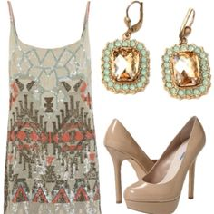 Outfits For A Saturday Night Out: Simple heels with a glitzy sequin dress. Perfect for a summer night.