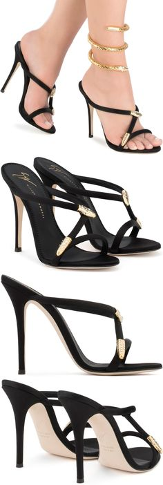 Designed with slim satin straps that coil around the foot, Giuseppe Zanotti's Aleesha mules will lend a serpentine twist to evening ensembles. Accented by gold-tone snake hardware encrusted with sparkling crystals, they are perfect for pairing with slinky dresses.