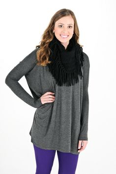 La'Rue Essential Long Sleeve Tunic - Charcoal