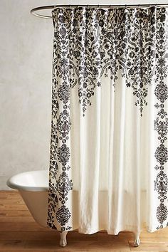 Boho Home: Black & White Bathroom Anthropologie Oakbrook Shower Curtain. Bathroom decor. Modern Retro Style Shower Curtain. #bathroomdecorideas #modernretro #ad