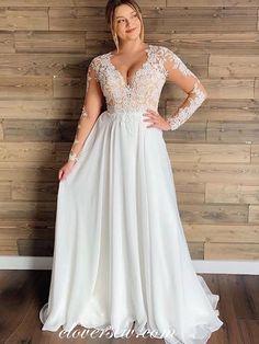 Plus Size Bridal Dresses, Plus Wedding Dresses, Lace Wedding Dress With Sleeves, Wedding Dress Chiffon, Wedding Dress Trends, Lace Chiffon, Gown Wedding, Wedding Ideas, Wedding Cakes
