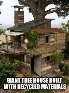 Giant tree house built with recycled materials @Jacob McPherson, Attokaren Thompson, @Blake Coglianese