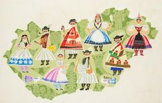 Folk costume  patterns in cartoon form, Hungary