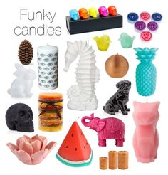 Funky candles by blackserpent on Polyvore featuring polyvore, interior, interiors, interior design, home, home decor, interior decorating, John Lewis, PyroPet, Sunnylife, D.L. & Co., Ally Fashion, HomArt, Mario Luca Giusti, Crate and Barrel and Wiedemann Candles
