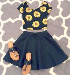 Black skater skirt + floral crop top