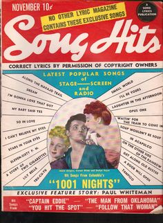 Song Hits Magazine November 1945 Popular Songs Stage Screen and Radio www.advintageplus.com