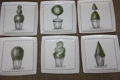 Service de topiaires par Claudette Painted Porcelain, Hand Painted, China Painting, Drawings, Modern, Trees And Shrubs, Dish Sets, Tiles, White Porcelain