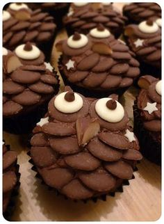 Suzie Makes: Chocolate Owl Cupcakes - great recipe! Just don't show our owls! Cupcake Recipes, Baking Recipes, Cupcake Flavors, Childrens Cupcakes, Gluten Free Pumpkin Cookies, Owl Cakes, Ladybug Cakes, Baking With Kids, Creative Cakes
