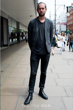 Men's Street Style | Boots and Blazer - A plain jeans and t-shirt outfit can be made a lot more interesting and grown up with the addition of a blazer and a pair of leather boots. | Shop the look at The Idle Man