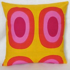 Marimekko yellow/lilac/red pillow cover in by mummiquilts on Etsy, $34.00