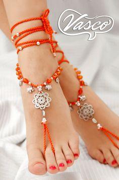 Boho Barefoot Sandal. Orange Gypsy Shoes. Mandala Barefoot
