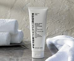 A mega-effective body lotion by Peter Thomas Roth rich with Vitamins C, E and Pro Vitamin B5 that instantly soothes and nourishes dehydrated skin, leaving skin feeling soft, smooth and moisturized. 8.5 oz, $18.00 #HiltontoHome.