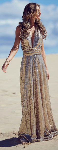 Sequins Bridesmaid dress by GODDESS BY NATURE  www.goddessbynature.com  A beautiful champagne sequins multiway dress that is designed to bring a little sparkle to your bridal party on your wedding day. Would also be perfect afterwards as a formal dress for special events!