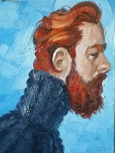 Ginger Bear in a Turtleneck Sweater, oil on canvas panel 11x14 inches, by Kenney Mencher